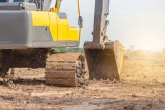 Машина экскаватора Backhoes на строительной площадке стоковое фото rf