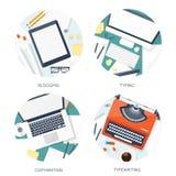 Машинка иллюстрации вектора плоская вручает компьтер-книжку Скажите ваш рассказ идентификации Блоги бесплатная иллюстрация