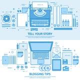 Машинка и ноутбук Скажите ваш рассказ идентификации Ведя блог платформа Плоская голубая предпосылка плана Линия вектор искусства иллюстрация вектора