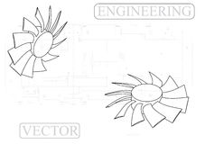 Машиностроительные чертежи на белой предпосылке, вентиляторе иллюстрация вектора