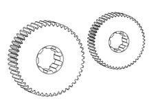 Машиностроительные чертежи на белой предпосылке, колеса Стоковое Изображение