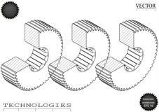 Машиностроительные чертежи на белой предпосылке, колеса Стоковая Фотография