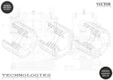 Машиностроительные чертежи на белой предпосылке, колеса Стоковые Фото