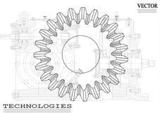 Машиностроительные чертежи на белой предпосылке, колеса Стоковые Изображения RF