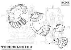 Машиностроительные чертежи на белой предпосылке, колеса иллюстрация вектора