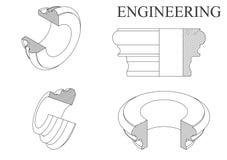 Машиностроительные чертежи на белой предпосылке Стоковое Фото