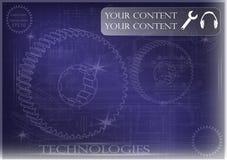 Машиностроительные чертежи на голубой предпосылке, колеса Стоковые Изображения RF