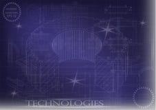 Машиностроительные чертежи на голубой предпосылке, колеса Стоковая Фотография