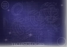 Машиностроительные чертежи на голубой предпосылке, колеса иллюстрация штока