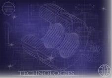 Машиностроительные чертежи на голубой предпосылке, колеса Стоковое Фото