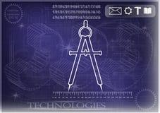 Машиностроительные чертежи на голубой предпосылке, колеса Стоковое Изображение