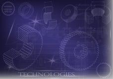 Машиностроительные чертежи на голубой предпосылке, колеса Стоковые Фото