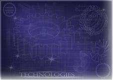 Машиностроительные чертежи на голубой предпосылке, колеса Стоковые Фотографии RF