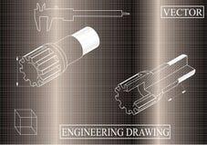 Машиностроительные чертежи на коричневой предпосылке, вале иллюстрация вектора