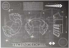 Машиностроительные чертежи на серой предпосылке, колеса Стоковое Изображение RF