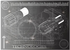 Машиностроительные чертежи на серой предпосылке, колеса Стоковые Фотографии RF