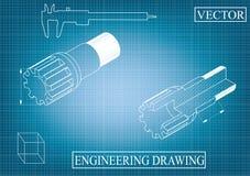 Машиностроительные чертежи на сине- серой предпосылке, колеса иллюстрация штока