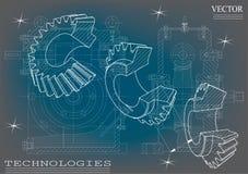 Машиностроительные чертежи на сине- серой предпосылке, колеса Стоковые Изображения
