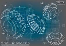 Машиностроительные чертежи на сине- серой предпосылке, колеса Стоковые Фотографии RF