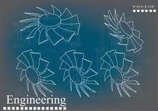 Машиностроительные чертежи на сине- сером цвете иллюстрация вектора