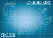 Машиностроительные чертежи на сине- сером цвете Стоковое Изображение RF
