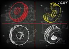 Машиностроительные чертежи на черной предпосылке, колеса иллюстрация вектора