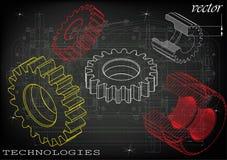 Машиностроительные чертежи на черной предпосылке, колеса Стоковая Фотография RF