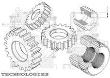 Машиностроительные чертежи на черной предпосылке, колеса иллюстрация штока