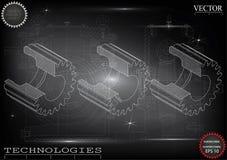 Машиностроительные чертежи на черной предпосылке, колеса бесплатная иллюстрация
