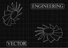 Машиностроительные чертежи на черной предпосылке, колеса Стоковое Изображение RF