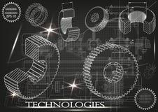 Машиностроительные чертежи на черной предпосылке, колеса Стоковая Фотография