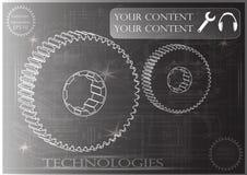Машиностроительные чертежи на черной предпосылке, колеса Стоковые Фотографии RF