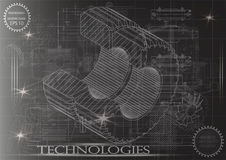 Машиностроительные чертежи на черной предпосылке, колеса Стоковое Изображение