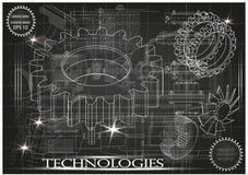 Машиностроительные чертежи на черной предпосылке, колеса Стоковые Изображения RF