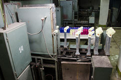 Машины и оборудование в закручивая дизайне интерьера компании продукции Текстильная ткань Стоковые Фото