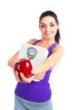 маштабы девушки яблока Стоковое Изображение RF
