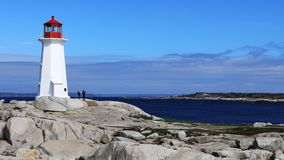Маяк бухты Timelapse Peggys, Новая Шотландия, Канада 4K видеоматериал