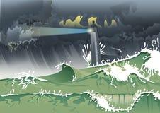 Маяк в буре Стоковое Фото