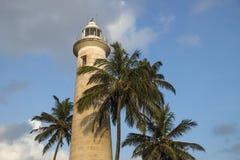 Маяк в Галле с пальмами, Шри-Ланке Стоковые Изображения RF