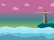 Маяк в море с сладостно цветом неба иллюстрация вектора