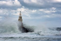 Маяк в порте Ahtopol, Чёрного моря, Болгарии Стоковое Фото