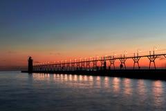 Маяк в южной гавани Стоковые Изображения RF