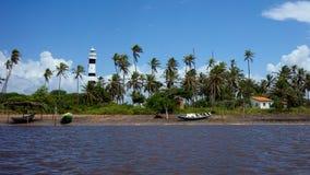Маяк в Mandacaru, национальном парке Lençois Maranhenses, Maranhao, Бразилии Стоковые Фото