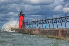 маяк гавани южный стоковое фото rf