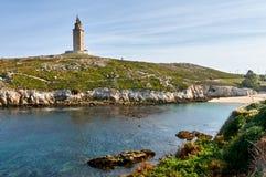 Маяк Геркулеса Coruna, Испания Стоковое Фото
