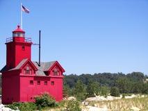 маяк Голландии гавани Стоковая Фотография