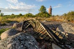 Маяк и дом в Балтийском море Стоковое Изображение RF