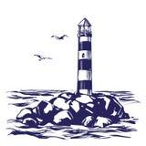 Маяк и море благоустраивают нарисованный рукой эскиз иллюстрации вектора Стоковые Изображения