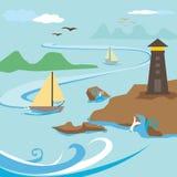 Маяк и остров иллюстрация штока