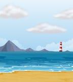 Маяк и пляж иллюстрация вектора